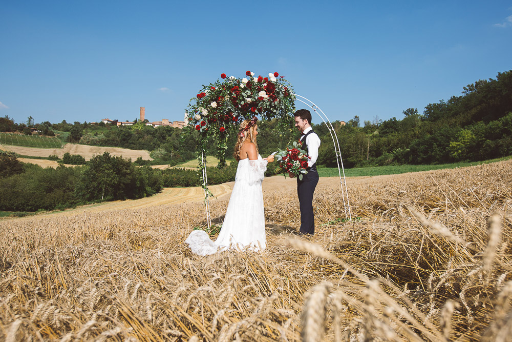 wedding celebration in wheat field