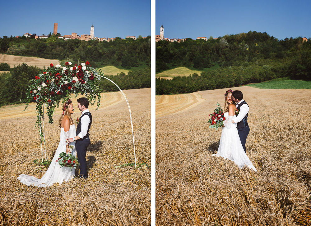 wedding in a wheat field