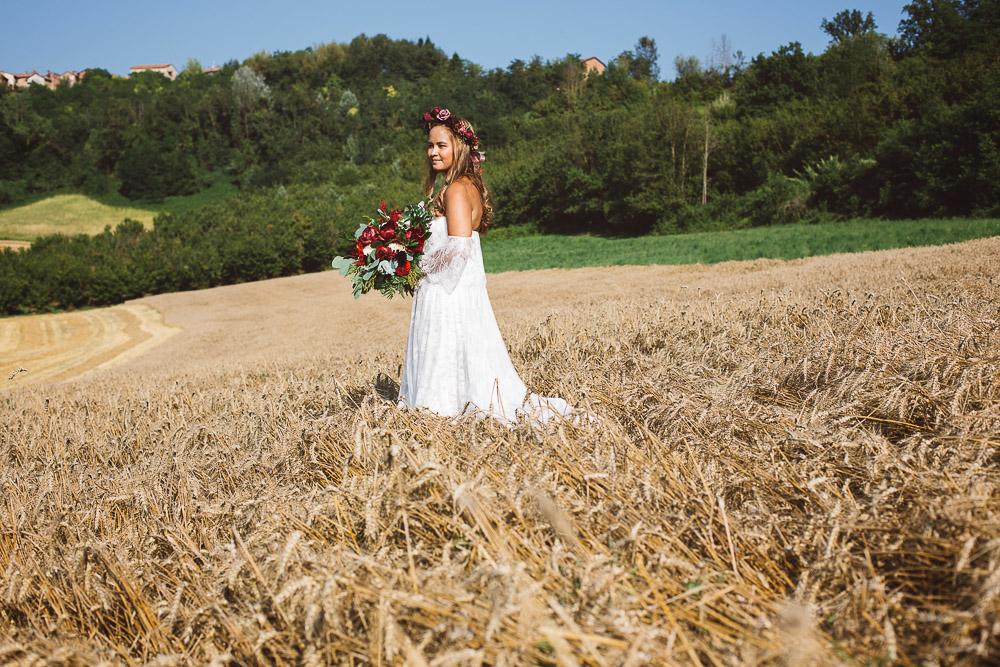 beautiful bride in wheat meadows
