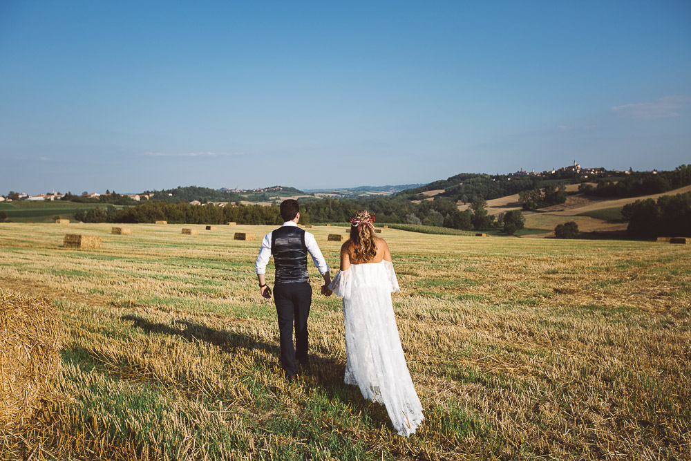 bride and groom in Monferrato hills