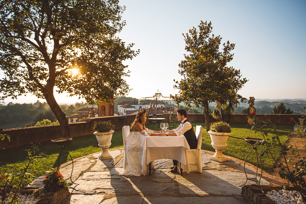 bride and groom having dinner on a Medieval Castle
