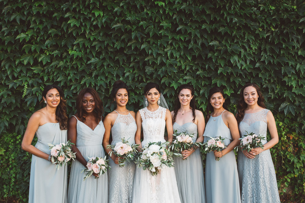 bride and bridesmaids, wedding in Tuscany