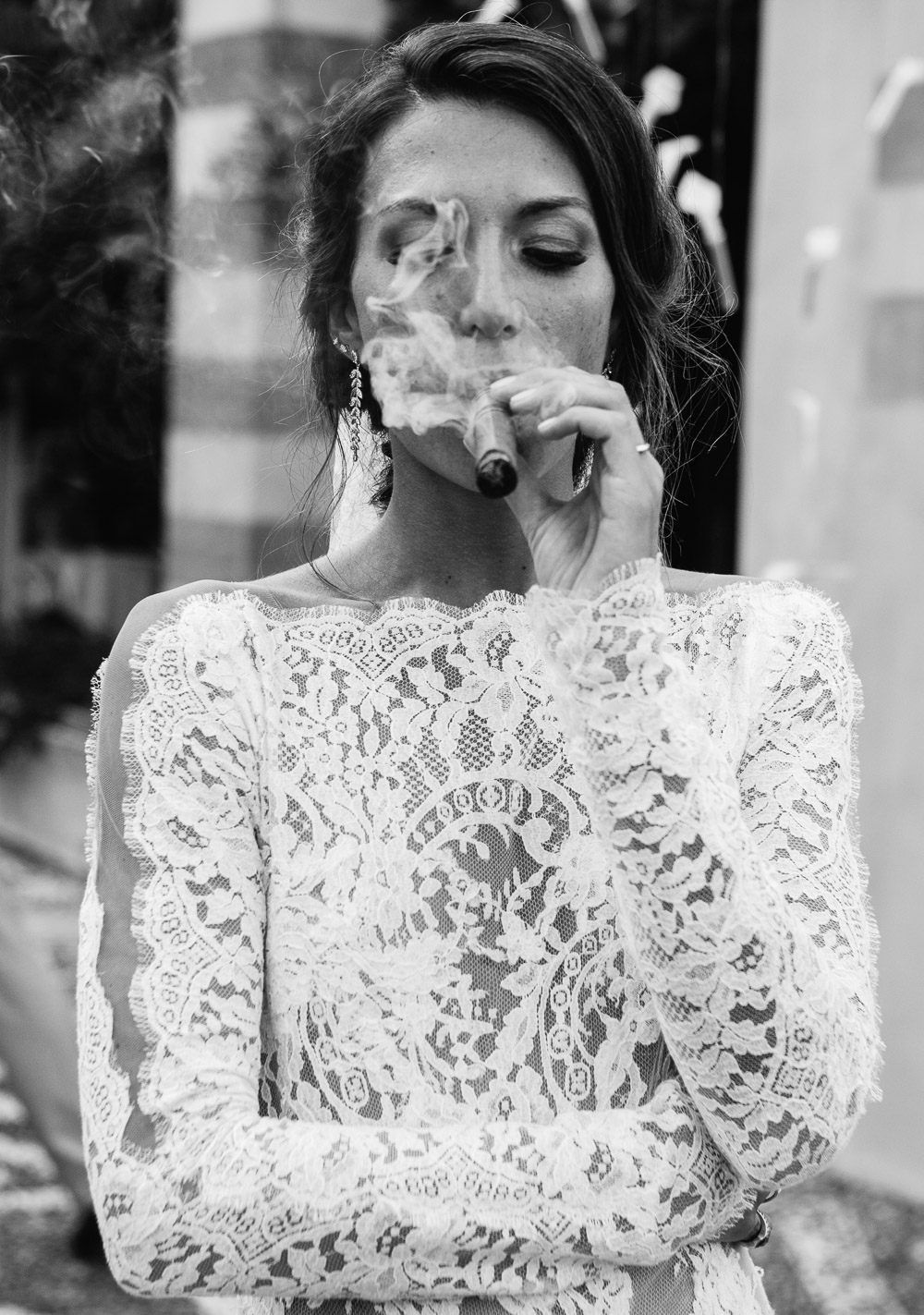 bride smoking cigar