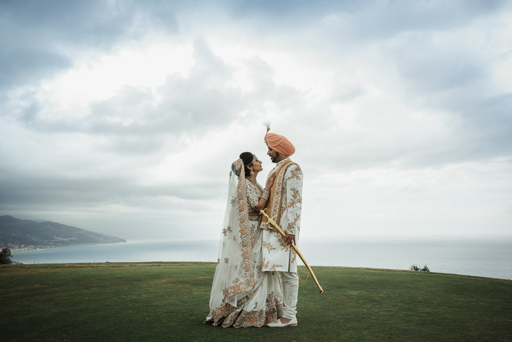 Indian bride and groom, wedding in Italy